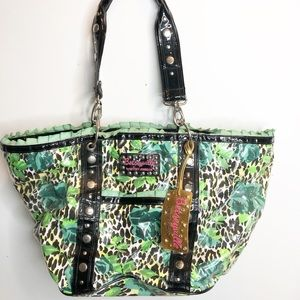 Betsy Johnson plastic leopard tote tropical print